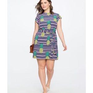 eloquii pineapple striped dress women's size 14